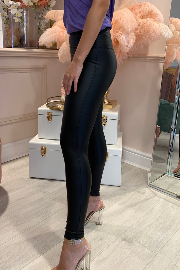 BLACK LEATHERETTE HIGH WAIST LEGGINGS