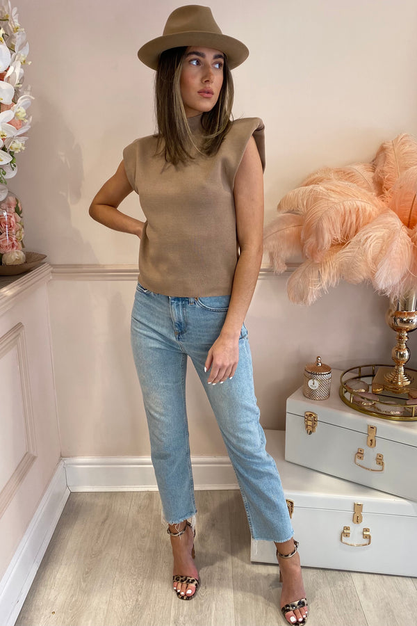 MALIKA TAUPE SHOULDER PADDED TOP