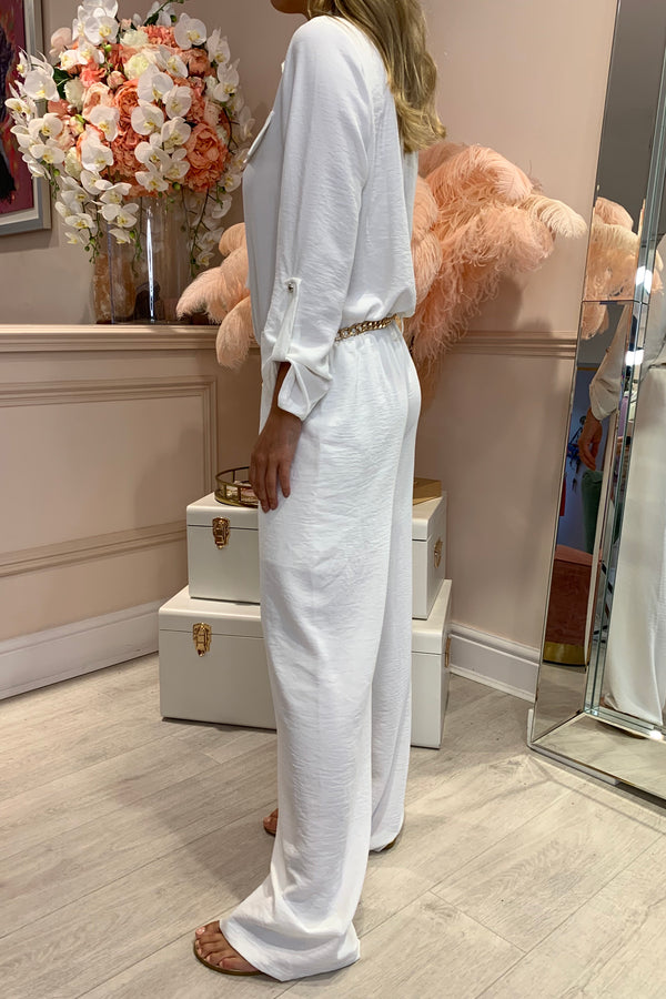 WHITE SHELL ZIP FRONT LOOSE FIT JUMPSUIT