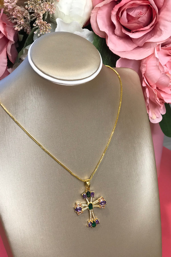 CRYSTAL GOLD/GREEN/PURPLE CROSS NECKLACE