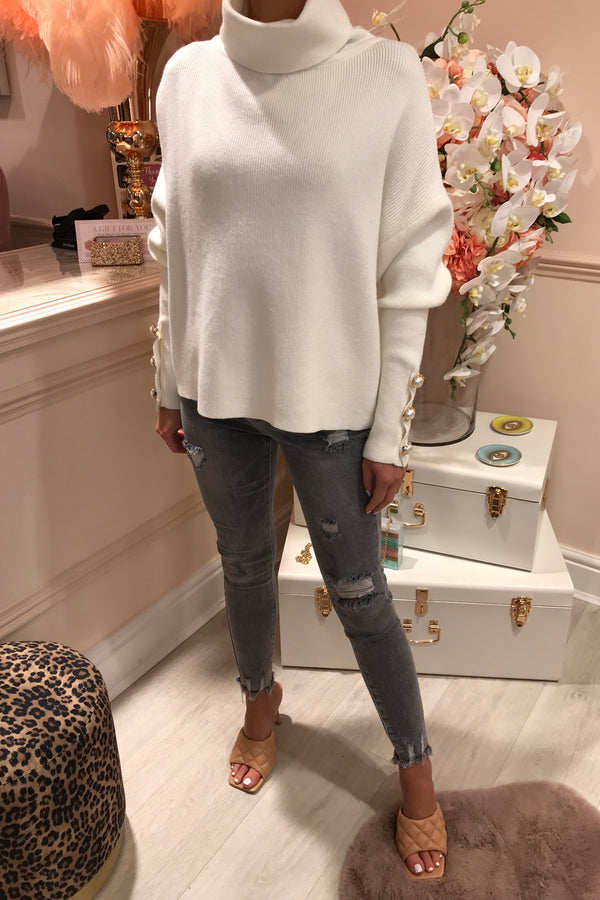 CREAM JUMPER WITH PEARL CUFF DETAIL