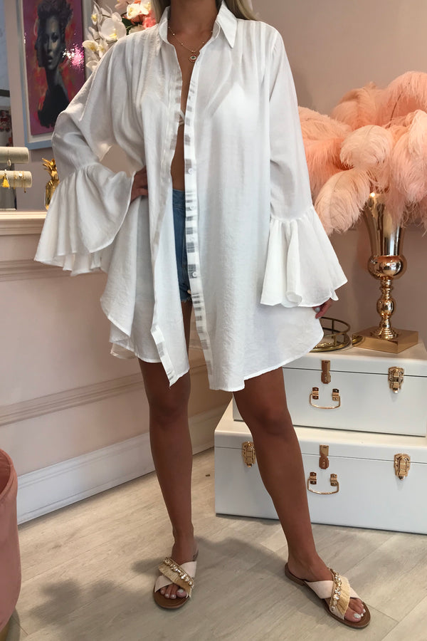 WHITE OVERSIZED SHIRT WITH FRILL SLEEVES