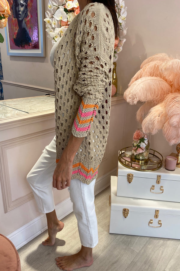 BEIGE/PINK FLORAL OPEN KNIT CARDIGAN