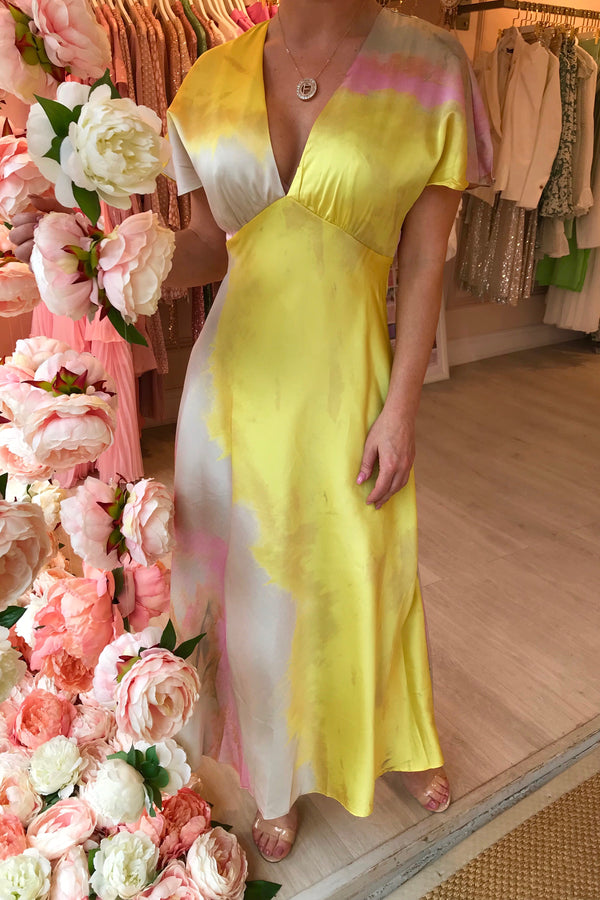 YELLOW TYE DYE MIDI DRESS