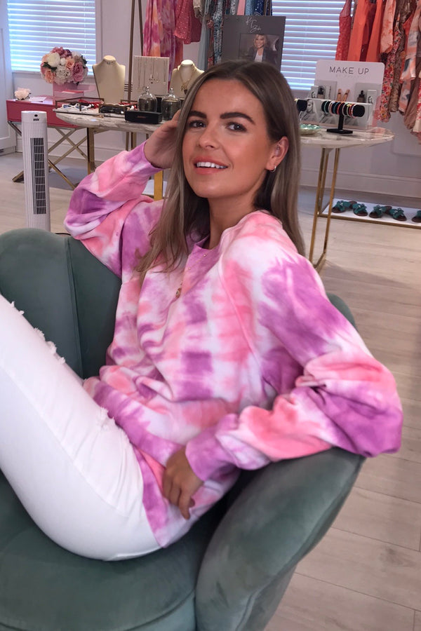 TYE DYE PINK/PURPLE ROUND NECK JUMPER