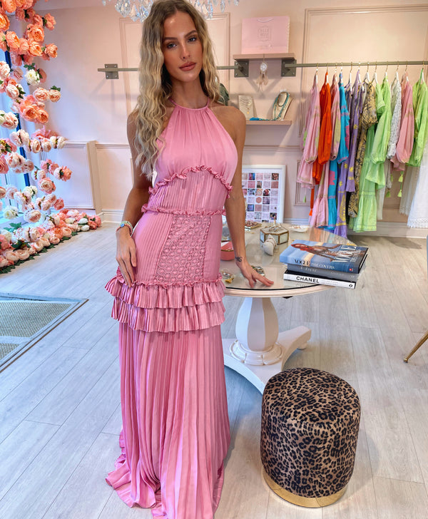 TD ORCHID PINK PLEATED MAXI DRESS