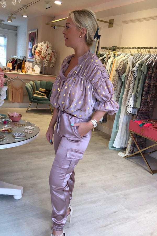 CANDY BLOUSE DUSTY  PINK WITH GOLD METALLIC