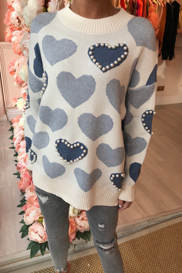 BLUE/CREAM HEART JUMPER WITH PEARLS