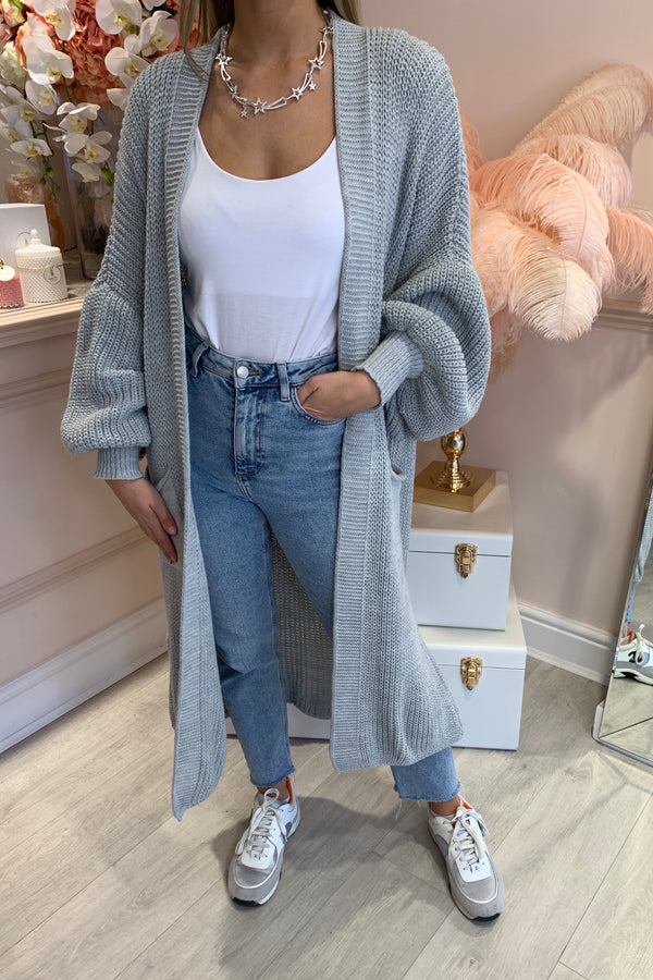 GREY BALLOON SLEEVE KNIT MAXI CARDI