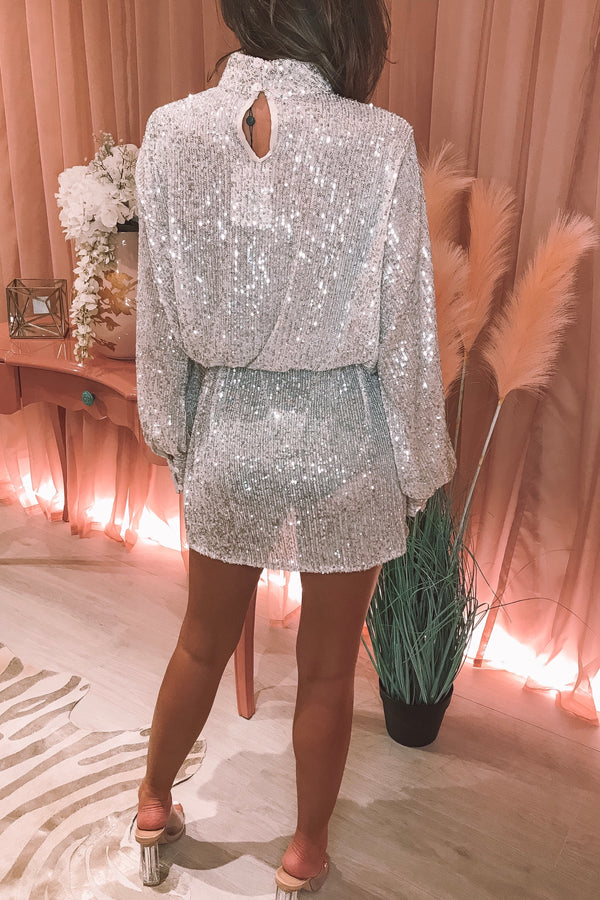 FIFI SILVER SEQUIN DRESS