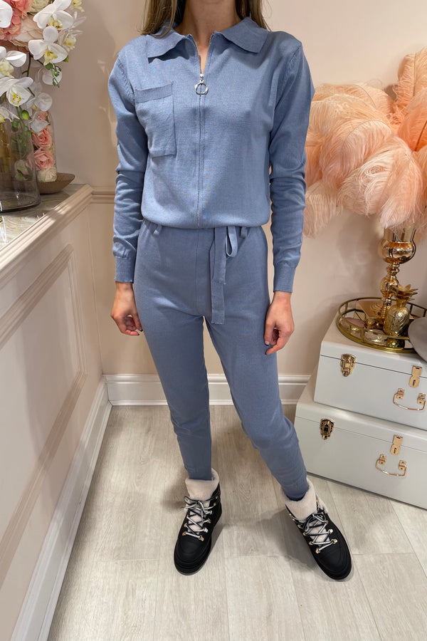 STEAL BLUE KNITTED JUMPSUIT WITH ZIP FRONT