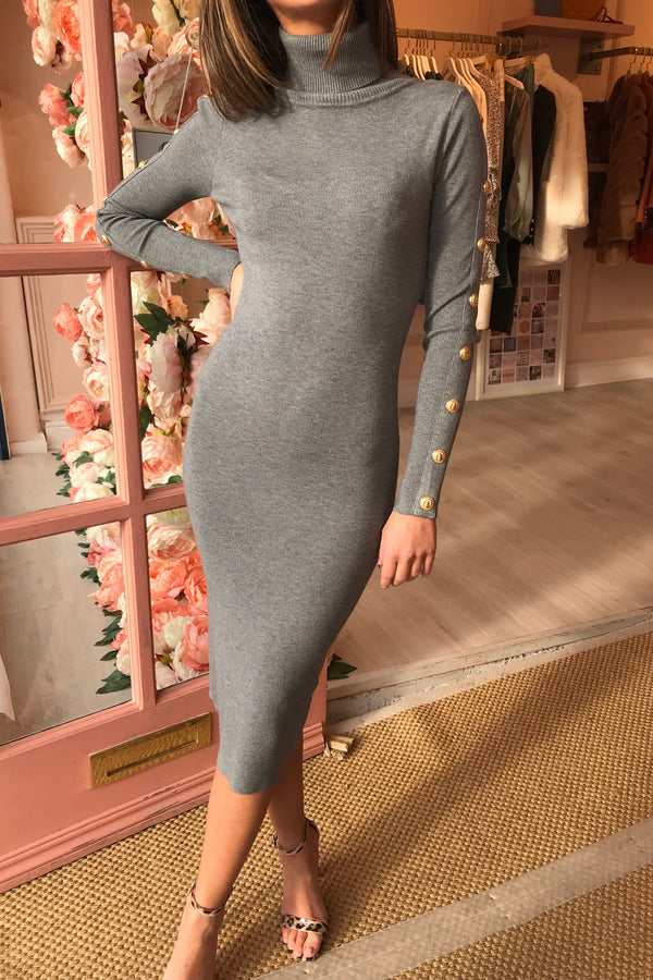DARLA GREY ROLL NECK KNITTED DRESS