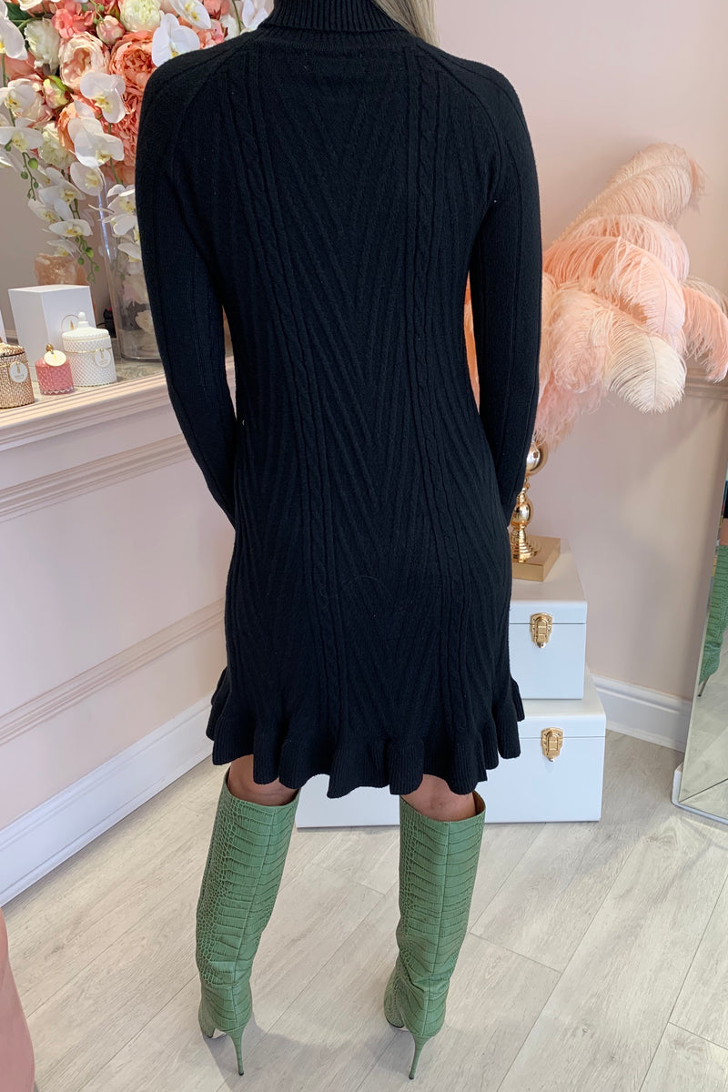 BLACK CABLE KNIT DRESS WITH FRILL HEM