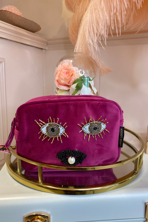 HOT PINK VELVET BAG WITH EYES & LIPS BROCH