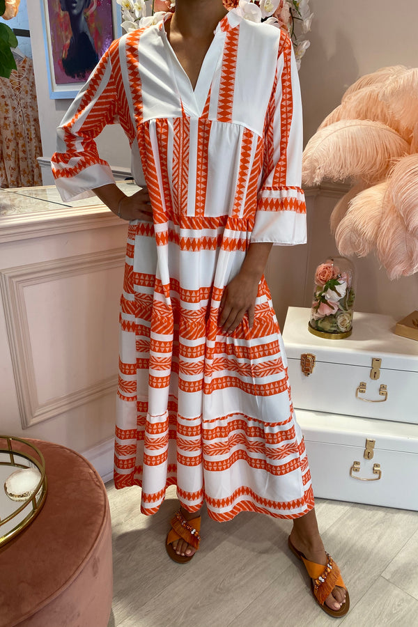 ORANGE/WHITE AZTEC RUFFLE MAXI DRESS