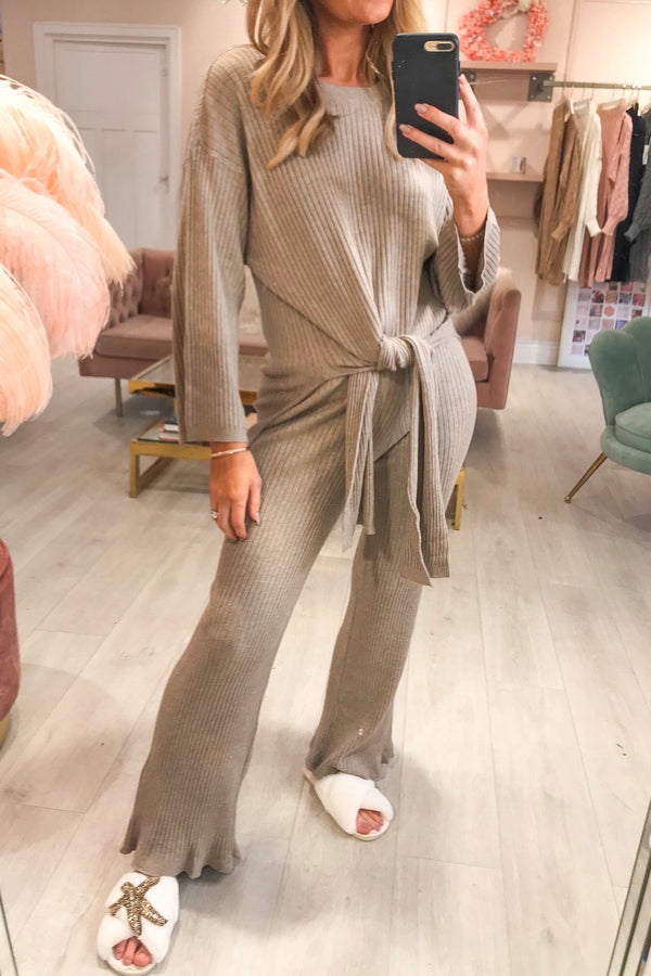 Taupe Ribbed Tie Up Tracksuit