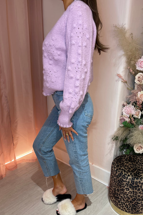 LILAC BOBBLE KNIT CARDIGAN WITH DIAMANTE BUTTON