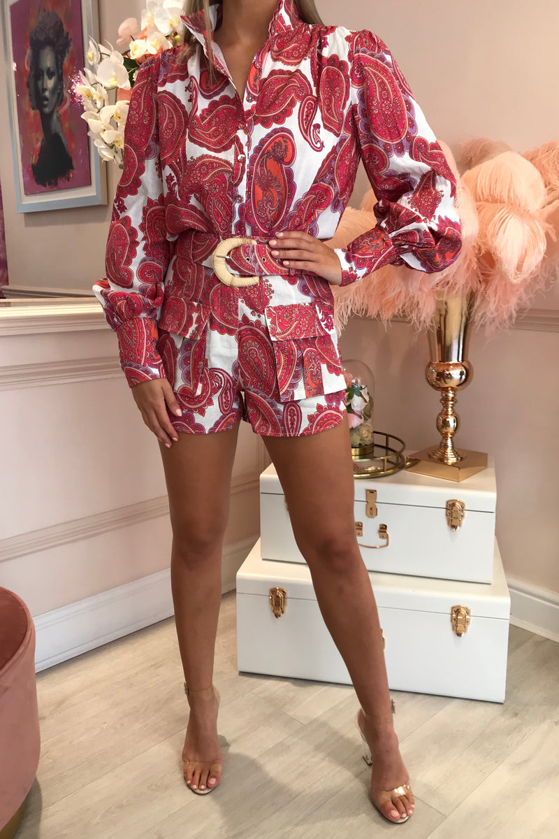 PRICILLA RED/PINK MATCHING BLOUSE & SHORTS