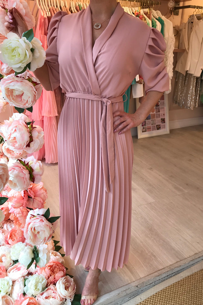 MARA BLUSH PUFF SLEEVE PLEATED MIDI DRESS