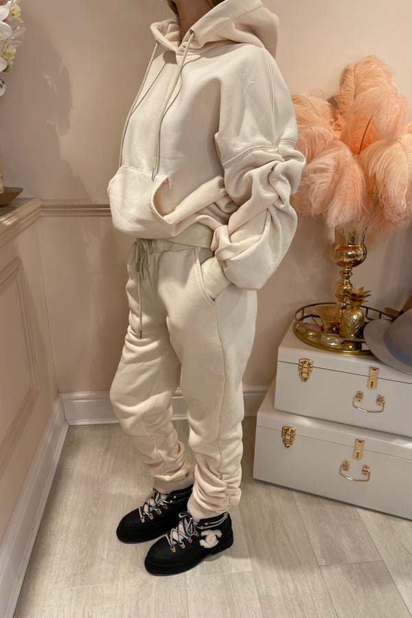 CREAM RUCHED SLEEVE HOODIE & JOGGER SET
