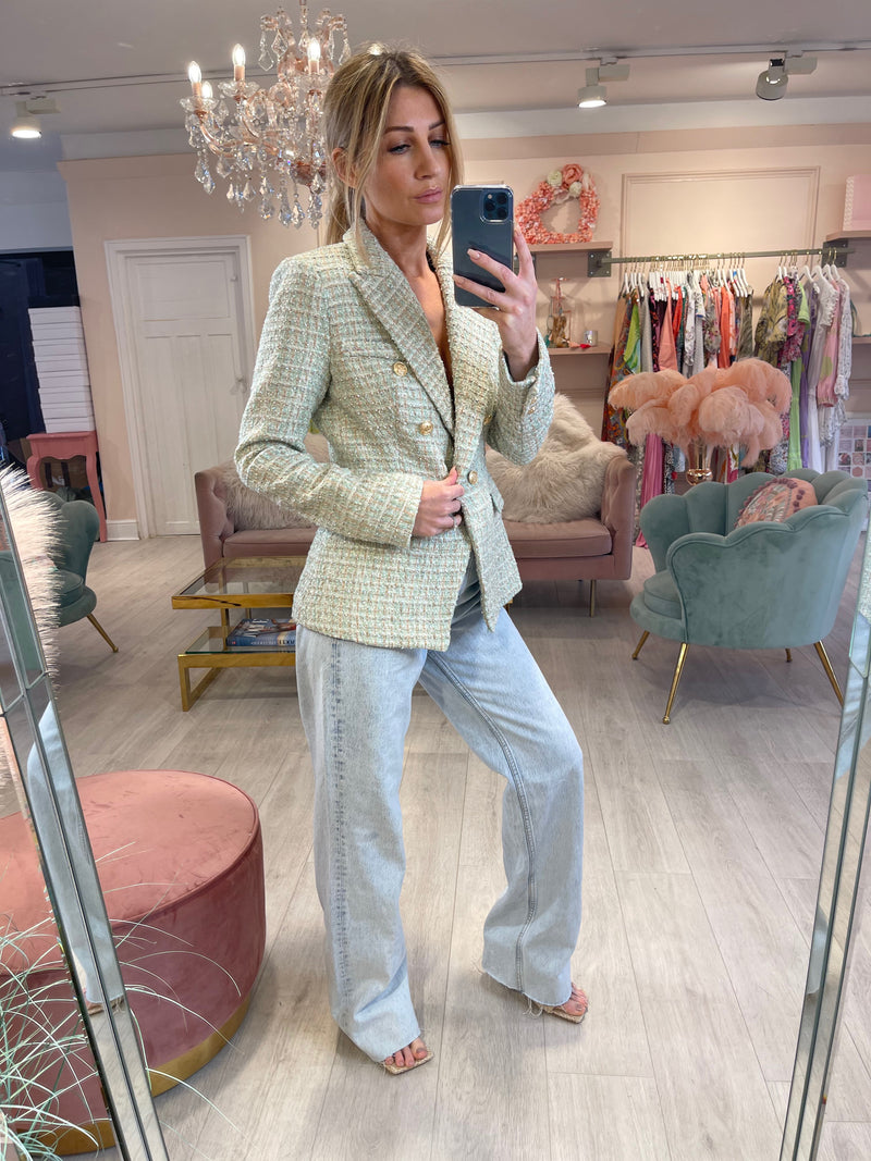 MIA PASTEL TWEED BABY MINT BLAZER