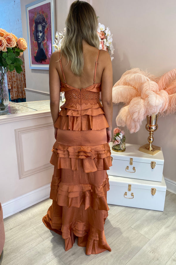 TD RUST TIERED RUFFLE MAXI DRESS