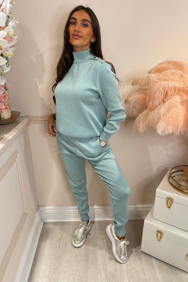 LINDSAY BLUE TRACKSUIT WITH GOLD BUTTON SHOULDERS