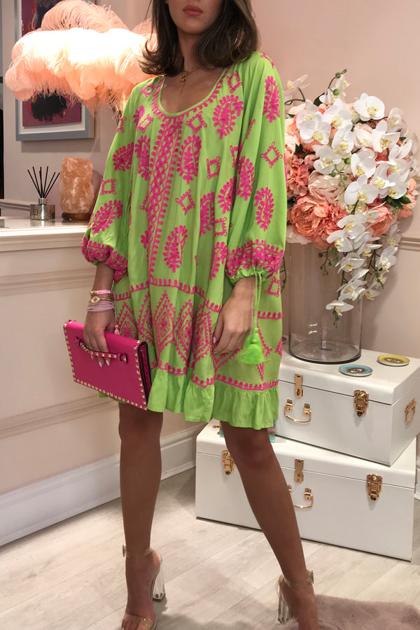 DOLLY NEON LIME/PINK EMBROIDERED BEACH DRESS