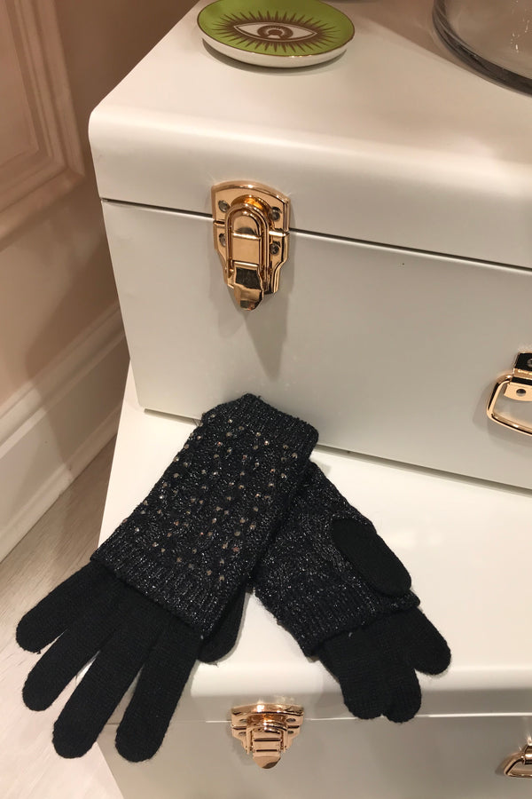 BLACK EMBELLISHED GLOVES