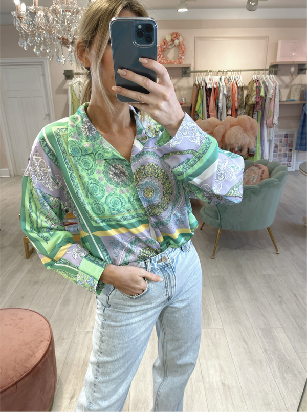ZURI PRINTED SHIRT GREEN/PURPLE