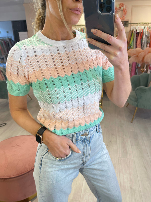 KYLA KNITTED SS TOP MINT/PEACH