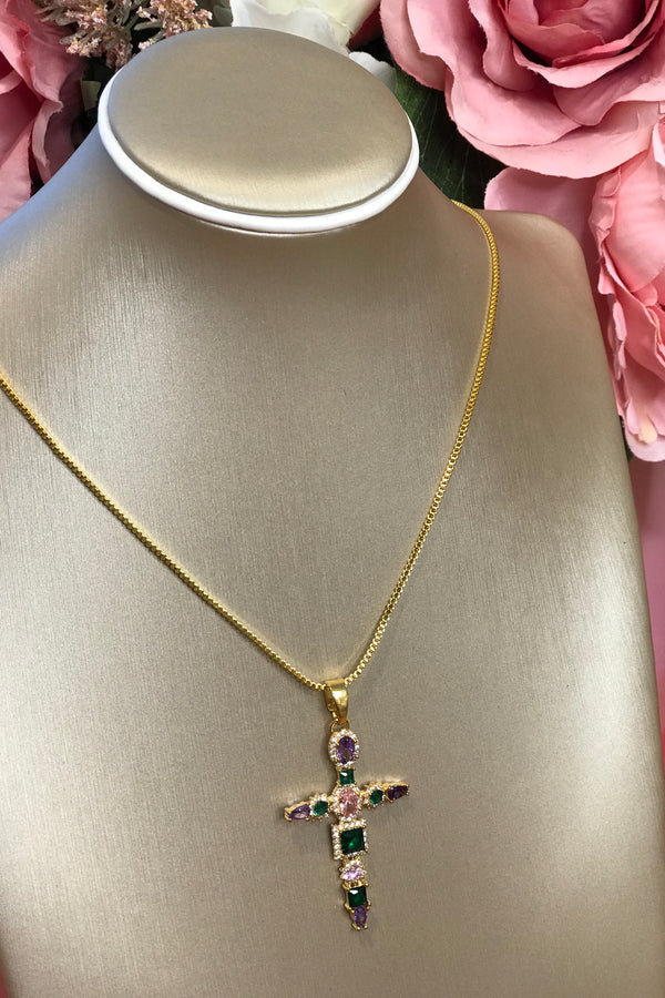 GOLD/GREEN/PURPLE STANDARD CROSS NECKLACE