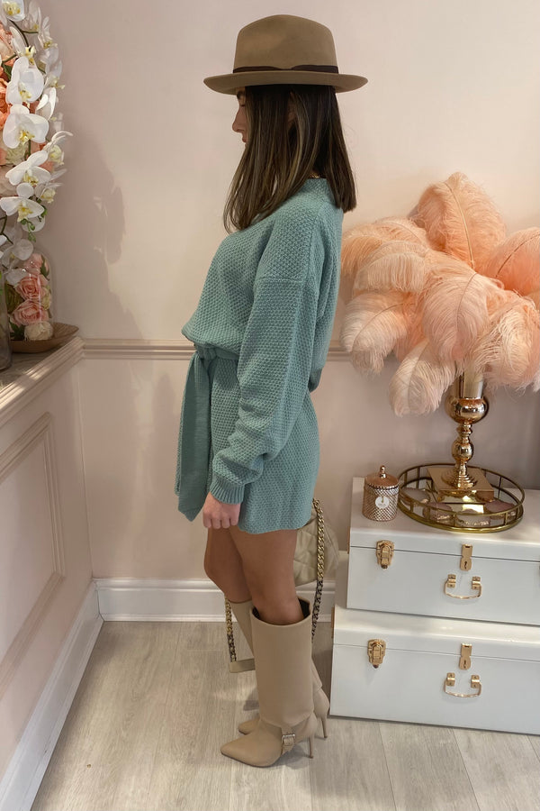 SAGE GREEN KNITTED MINI DRESS WITH BELT