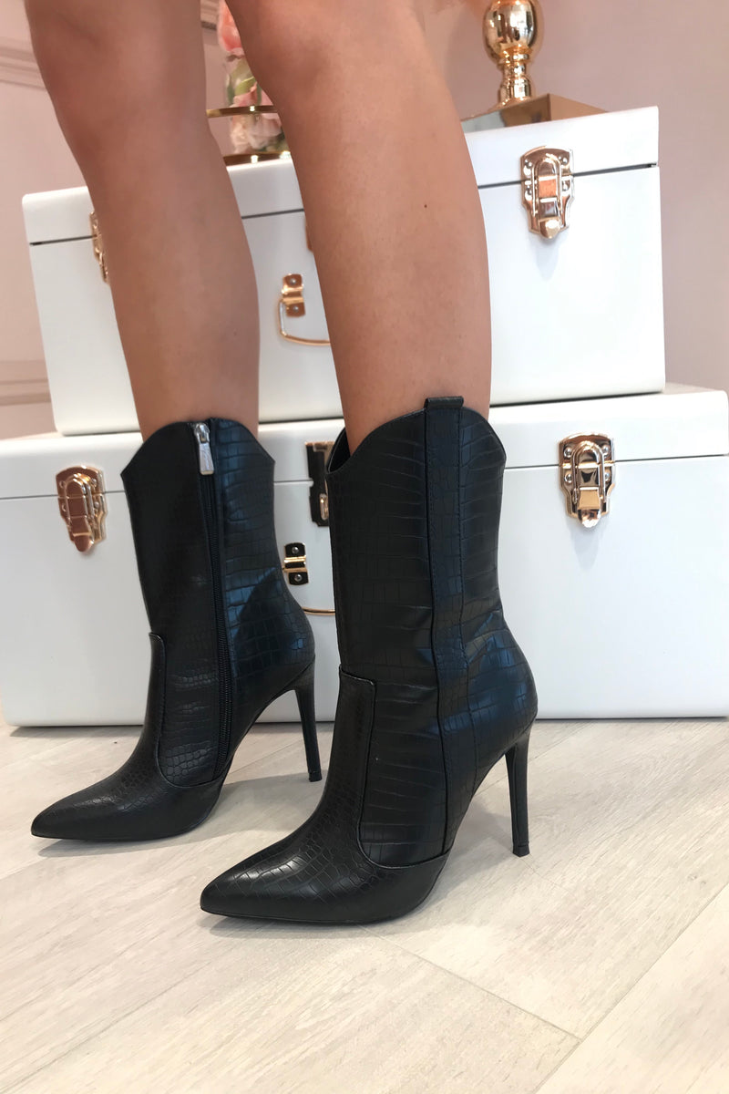 BLACK SNAKE FAUX LEATHER BOOTS