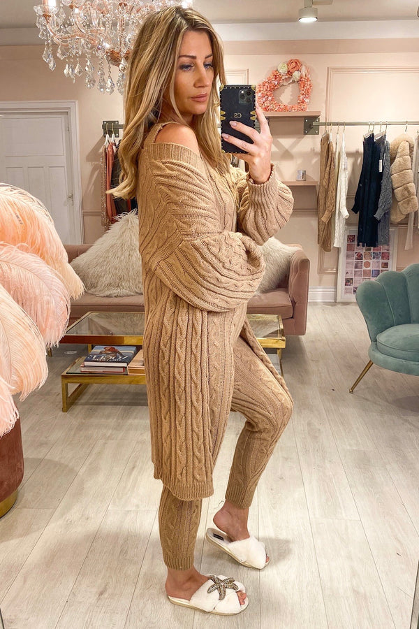 KEEPER BEIGE 3 PC CABLE KNIT TRACKSUIT