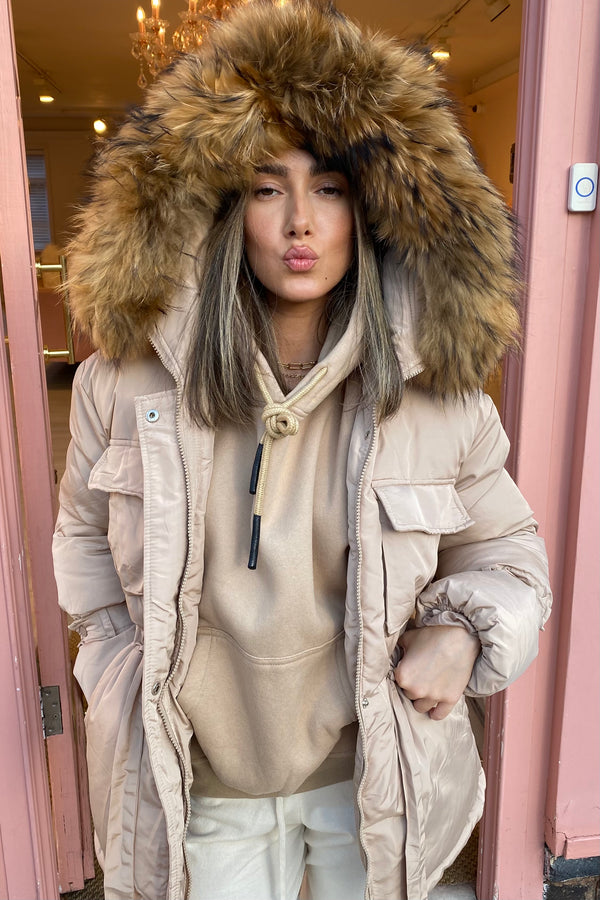 BEIGE NATURAL FUR HOODED COAT