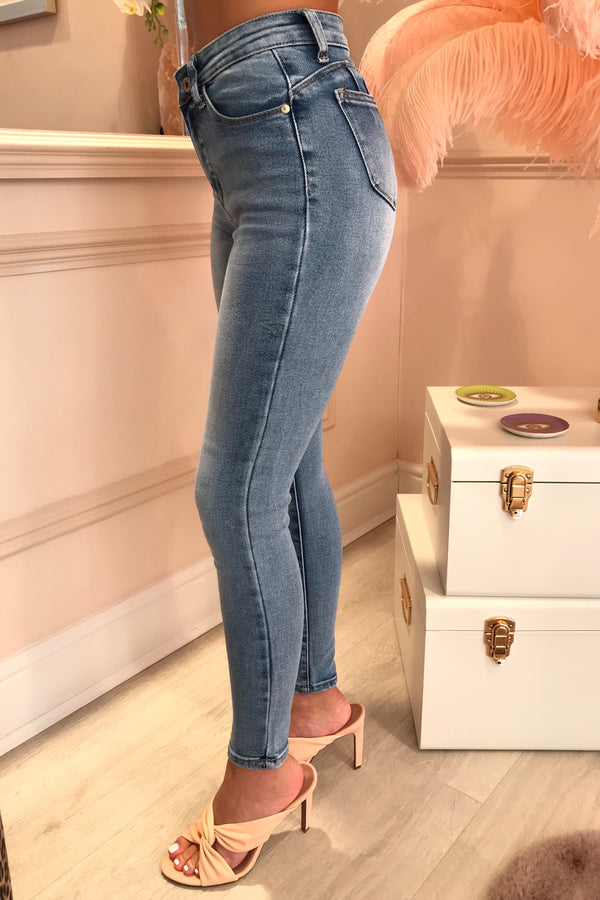 BLUE FADED FRONT SKINNY JEANS