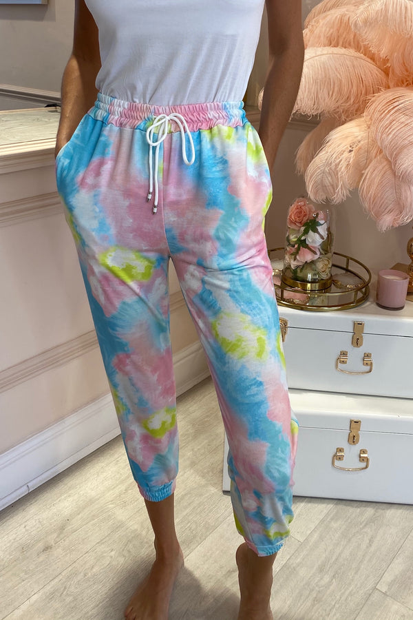 PINK/BLUE/YELLOW JOGGERS WITH DRAWSTRING WAIST