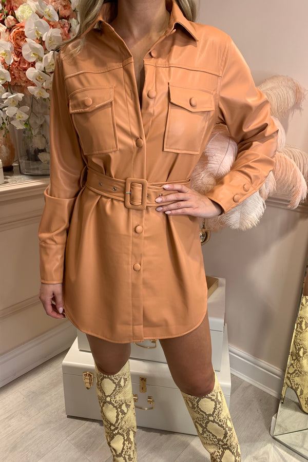 SALMON FAUX LEATHER SHIRT MINI DRESS