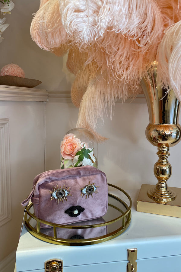 BLUSH PINK VELVET BAG WITH EYES & LIPS BROCH