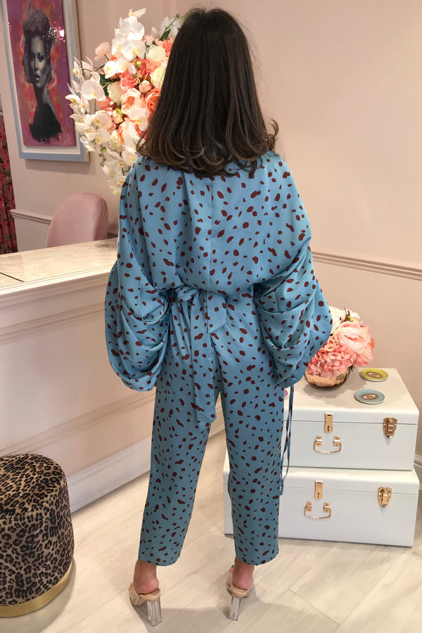 LUELLA BLUE POLKADOT SUIT WITH RUCHED HEAVY ARM
