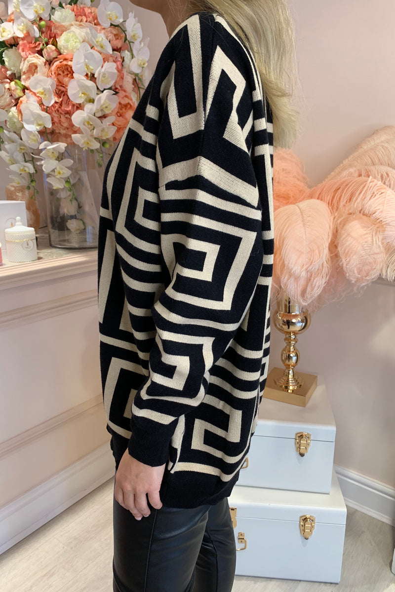 MICHAELA BEIGE/BLACK PATTERNED KNIT