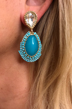 LOLA TURQUOISE/BLUE BEADED EARRINGS