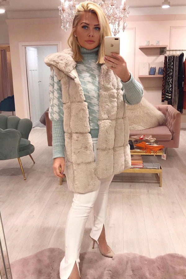 CREAM FAUX FUR WAISTCOAT WITH HOOD