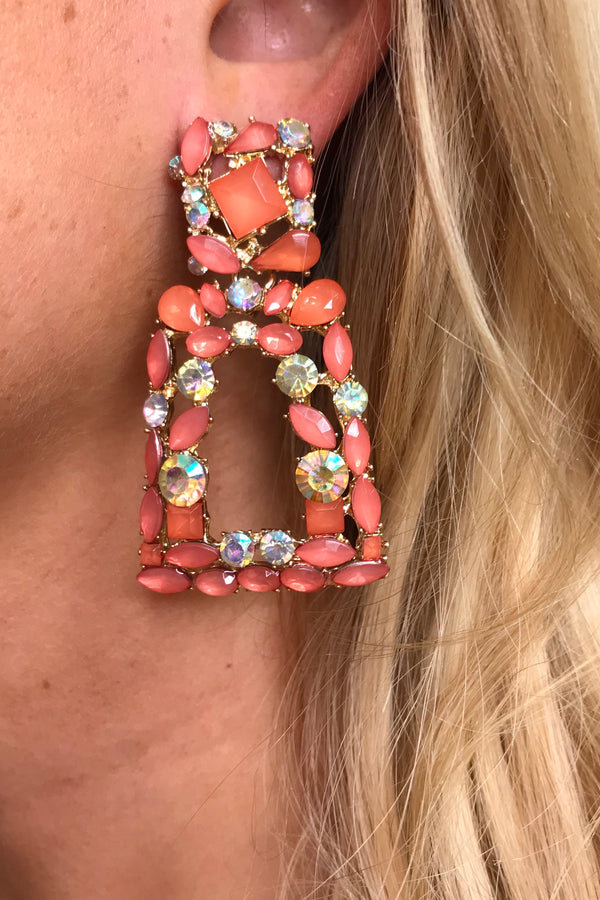 CLEO CORAL DIMANTE EARRINGS