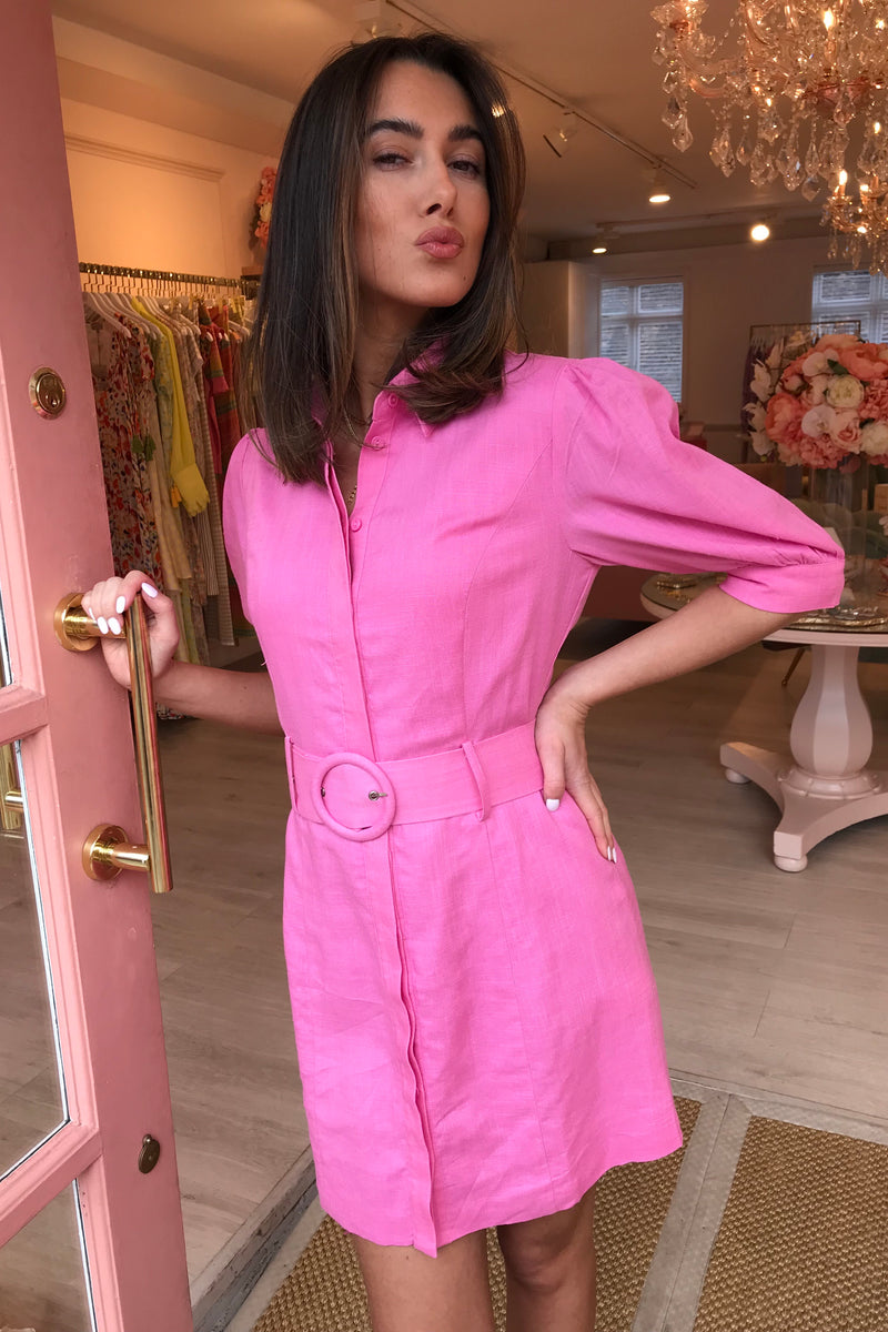 HOT PINK LINEN SHIRT DRESS