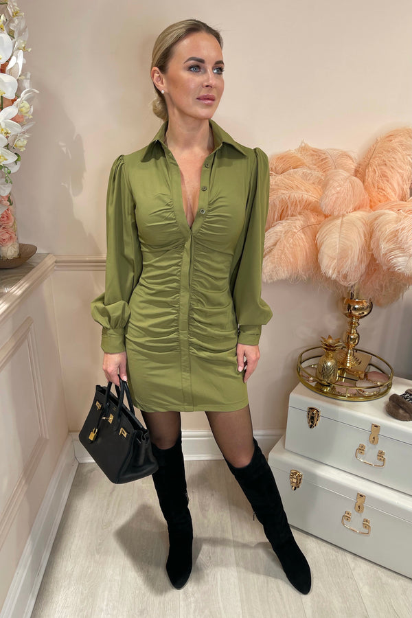 KHAKI RUCHED FRONT BUTTON UP SHIRT DRESS