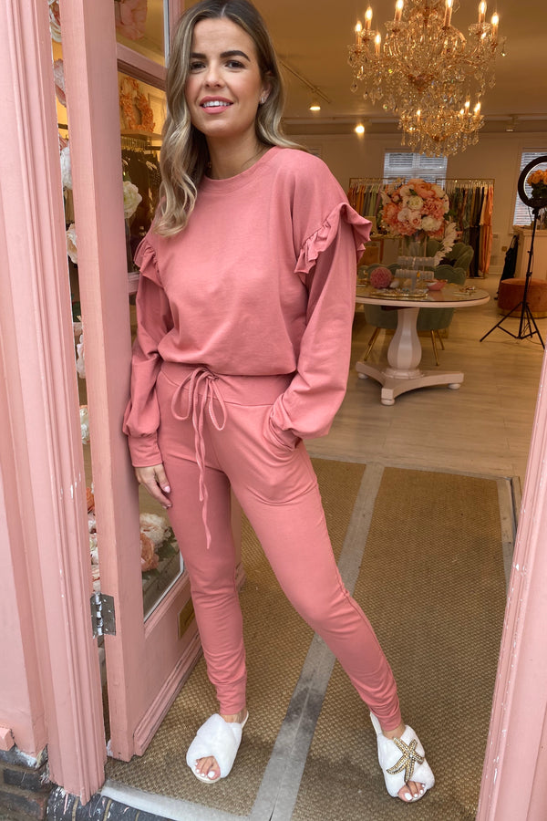 ROSE PINK FRILL SLEEVE TRACKSUIT