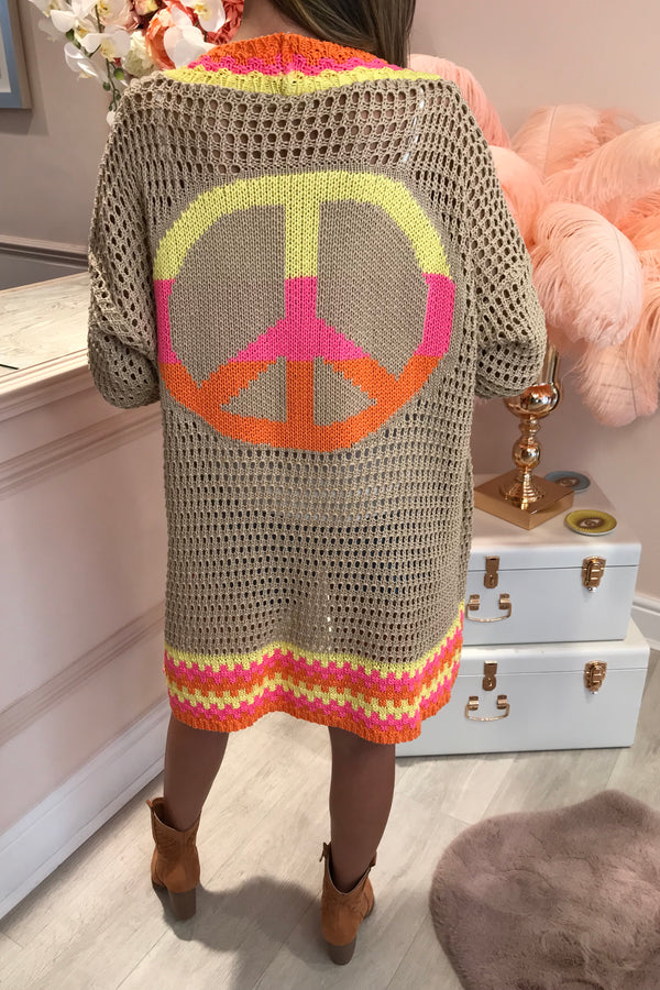 BEIGE CARDIGAN WITH PEACE SIGN