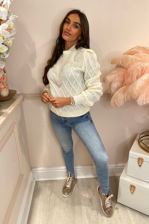 BAILEY CREAM CRISS CROSS PEARL JUMPER